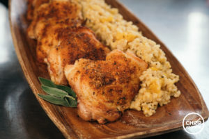 Crispy Chicken Thighs with Baked Butternut Squash-Sage Risotto
