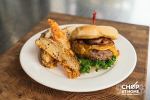 Kobe Beef Burgers with Caramelized Onions and Parmesan Steak Fries